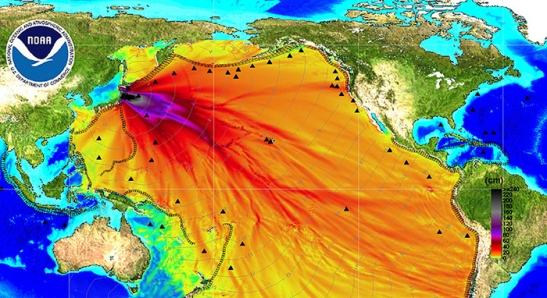 NOAA energy map shows the intensity of the tsunami caused by Japan's magnitude 8.9 earthquake