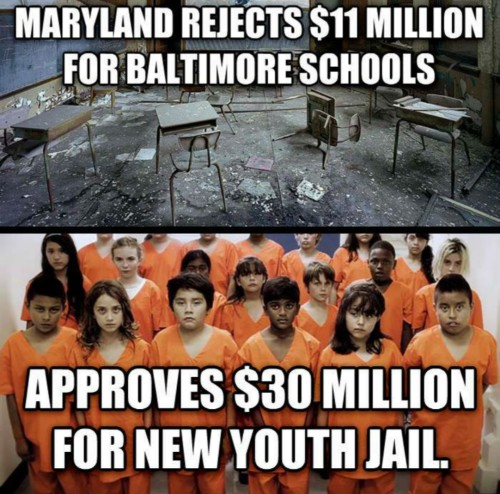 1780. Maryland's Governor rejected $11.6 million in additional funding for Baltimore schools, then approved a new $30 million youth jail