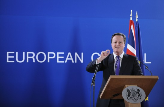 British Prime Minister David Cameron speaks at a press conference at the EU Headquarters on February 8, 2013 in Brussels, on the last day of a two-day European Union leaders summit. After 24 hours of talks lasting through the night, European Union leaders finally clinched a deal on the bloc's next 2014-2020 budget, summit chair  and EU president Herman Van Rompuy said Friday.  AFP PHOTO / JOHN THYS