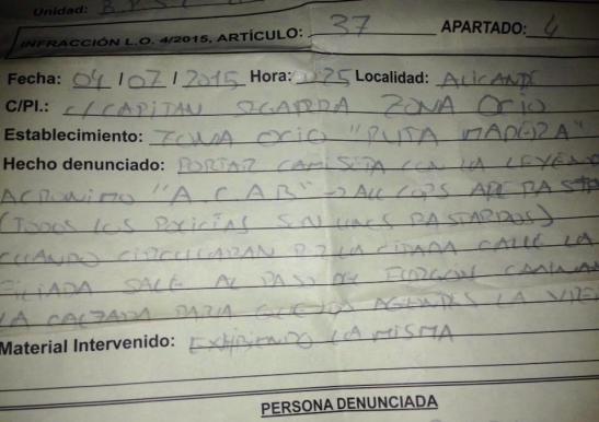 1872. Alicante 'estrena' la Ley Mordaza - Multa de 600 euros por llevar una camiseta 'peligrosa'