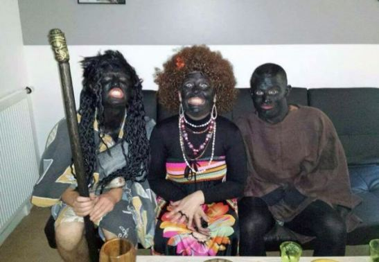 "French police from a Paris suburb are under fire after putting boot polish on their faces instead of their shoes and feasting on bananas during a fancy dress party. The cops thought it would remain private, but a picture of them with their grinning black faces and frizzy afro wigs appeared on a social media site where it quickly spread - and now they have been suspended. One of the images shows a police officer with a bunch of bananas scratching himself as if he was a monkey, and with a bucket of nuts on the ground in front of him. Officers from the Inspection Generale de la Police Nationale - the police department that investigates officer behaviour - are set to grill the black face gang from the Paris suburb of Kremlin-Bicetre this week. They could all be sacked - or fined for insulting behaviour. ""If the police officers who have the responsibility to fight against racism are more busy making fun of black people than defending them, it could explain why things have advanced so little in this domain,"" said Louis-Georges Tin, president of black group Conseil Representatif des Associations Noires. Tin has asked for a meeting with France's top policeman, Interior Minister Bernard Cazeneuve. He added: ""The black people of this country don't have to put up with racial profiling by people who dress up like this at night."" The blacked up photo scandal comes after a string of high-profile racist taunts directed at France's black Justice Minister Christiane Taubira. Far-right weekly magazine Minute published in November 2013 a cover page with the headline ""Crafty as a monkey, Taubira gets her banana back"". (ends)"